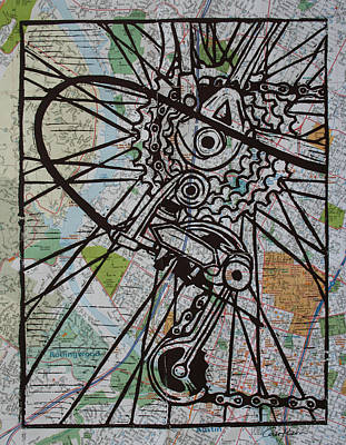 Linocut Linoluem Drawing - Derailluer On Map by William Cauthern