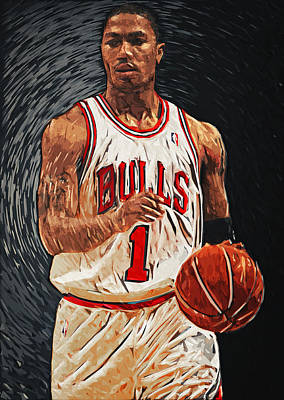Kobe Bryant Digital Art - Derrick Rose by Taylan Apukovska