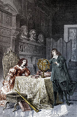 Orrery Photograph - Descartes Teaching Queen Christina, 1649 by Science Source