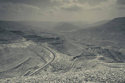 Jordan Photograph - Desert Landscape With Highway, Wadi by Panoramic Images