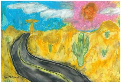 Art Print featuring the pastel Desert Road by Artists With Autism Inc