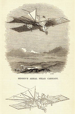 Design For The Aerial Steam Carriage Art Print by Universal History Archive/uig