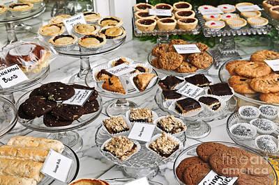 Desserts In Bakery Window Print by Elena Elisseeva