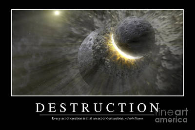Doomsday Digital Art - Destruction Inspirational Quote by Stocktrek Images