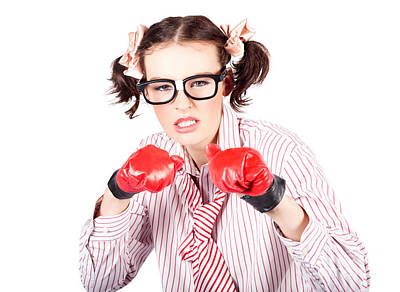 Determined Young Woman In Boxing Gloves Art Print