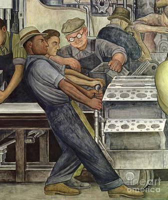 Frescoes Painting - Detroit Industry   North Wall by Diego Rivera