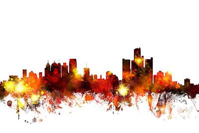 Detroit Digital Art - Detroit Michigan Skyline by Michael Tompsett