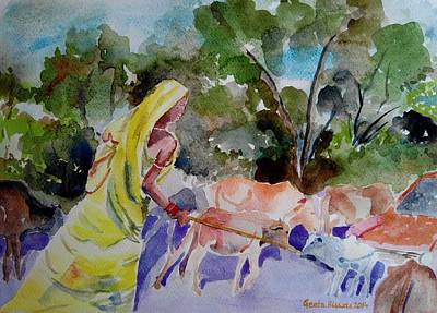 Sarees Painting - Developing Country by Geeta Biswas