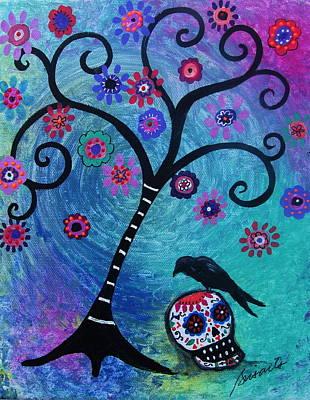 Painting - Dia De Los Muertos Crow by Pristine Cartera Turkus