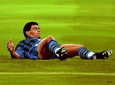 Coaching Painting - Diego Maradona 2 by Paul Meijering