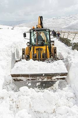 Snow Drifts Photograph - Digger Clearing Snow Drifts by Ashley Cooper