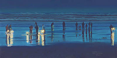 Razor Clams Wall Art - Painting - Digging After Dark by Carol Thompson