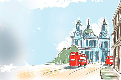 Traffic Digital Art - Digital Illustration St Paul Cathedral London Uk by Jorgo Photography - Wall Art Gallery