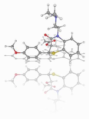 Diltiazem Drug Molecule Art Print by Laguna Design/science Photo Library