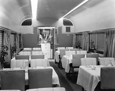 Dining Car On Denver Zephyr Art Print by Underwood Archives