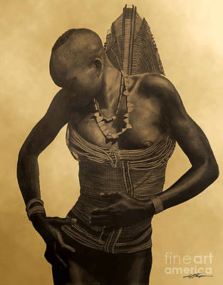 Indigenous Culture Drawing - Dinka Girl In Beaded Wrap 2 by Joel Thompson