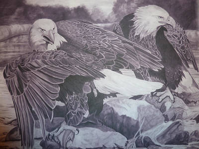 Black And White Eagle Drawing - Dinner For Two  by Christine  Blodgett