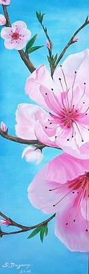 Painting - #1 Diptych   Peach Tree In Bloom by Sharon Duguay