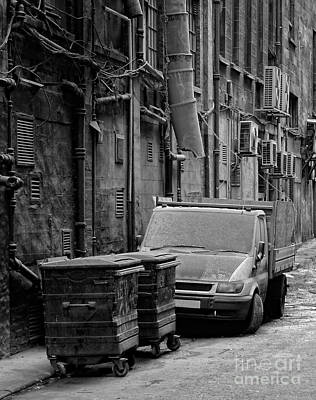 Dumpster Photograph - Dirty Back Streets Mono by Antony McAulay