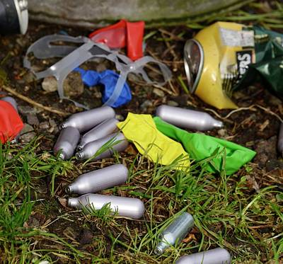 Inhale Photograph - Discarded Laughing Gas Capsules by Cordelia Molloy