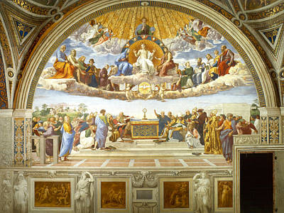 Jesus Art Painting - Disputation Of Holy Sacrament by Raphael