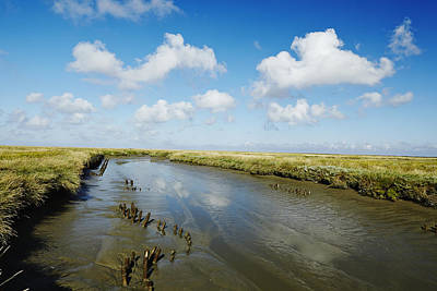Ditch At The Foreshore Near Westerhever Art Print