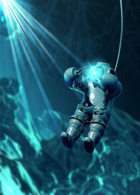 Diver Wearing Atmospheric Diving Suit Print by Victor Habbick Visions