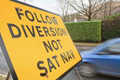 Closed Road Photograph - Diversion Road Sign by Ashley Cooper