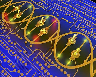 Integrated Photograph - Dna Gene Switch Circuit Board by Science Photo Library