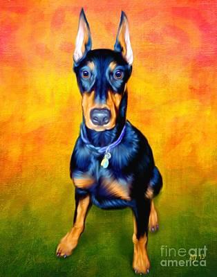 Doberman Pinscher Pop Art Painting - Doberman Pinscher Art by Iain McDonald