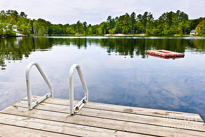 Wooden Platform Photograph - Dock On Calm Lake In Cottage Country by Elena Elisseeva