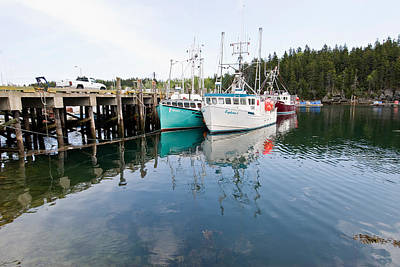 Dock With Fishing Boats At High Tide Art Print