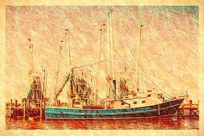 Painting - Shrimp Boat - Dock - Dockside by Barry Jones