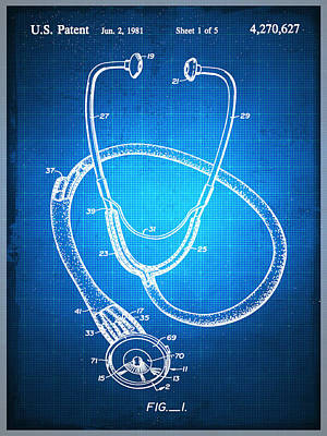 Mixed Media - Doctor Stethoscope 1 Patent Blueprint Drawing by Tony Rubino