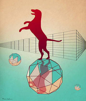 Geometric Animal Digital Art - dog by Mark Ashkenazi