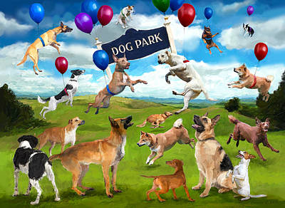 Digital Art - Dog Park Party by Frank Harris