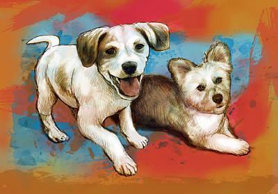 Dog Pop Art Drawing - Dog Stylised Pop Modern Art Drawing Sketch Portrait by Kim Wang