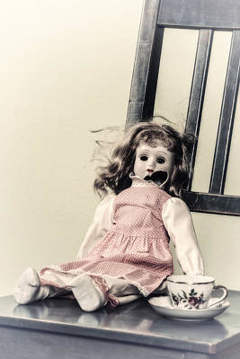 Antique Dishes Photograph - Doll With Tea Cup by Joana Kruse