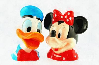 Donald Painting - Donald Duck And Minnie Mouse by George Atsametakis