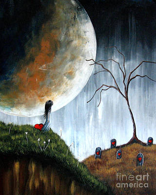 Big Moon Painting - Don't Worry I Won't Let Them Take You By Shawna Erback by Shawna Erback