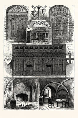 Screen Doors Drawing - 1. Door From The Middle Temple. 2. Wig-shop In The Middle by English School
