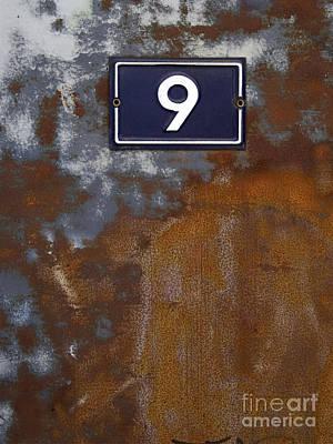 Rusty Door Photograph - Door In Scrap Metal  And Number 9 by Bernard Jaubert