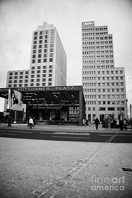 double row of bricks crossing Potsdamer Platz to signify the previous position of the berlin wall Berlin Germany Art Print by Joe Fox