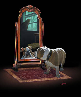 English Bulldog Painting - Double Trouble by Harold Shull