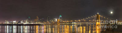 Roebling Bridge Photograph - Downtown Cincinnati Panorama by Twenty Two North Photography