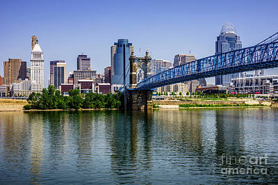 Roebling Bridge Photograph - Downtown Cincinnati Skyline And Roebling Bridge by Paul Velgos