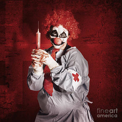 Photograph - Dr Death Clown With Big Red Hypodermic Needle by Jorgo Photography - Wall Art Gallery