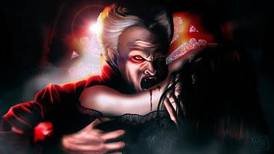 Dracula Digital Art - Dracula's Kiss by Alex Damage