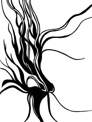Stillness Drawing - Dragon Flower by Tu Ly