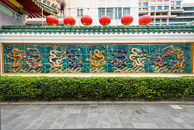 Of Tigers Photograph - Dragon Frieze Outside A Building by Panoramic Images